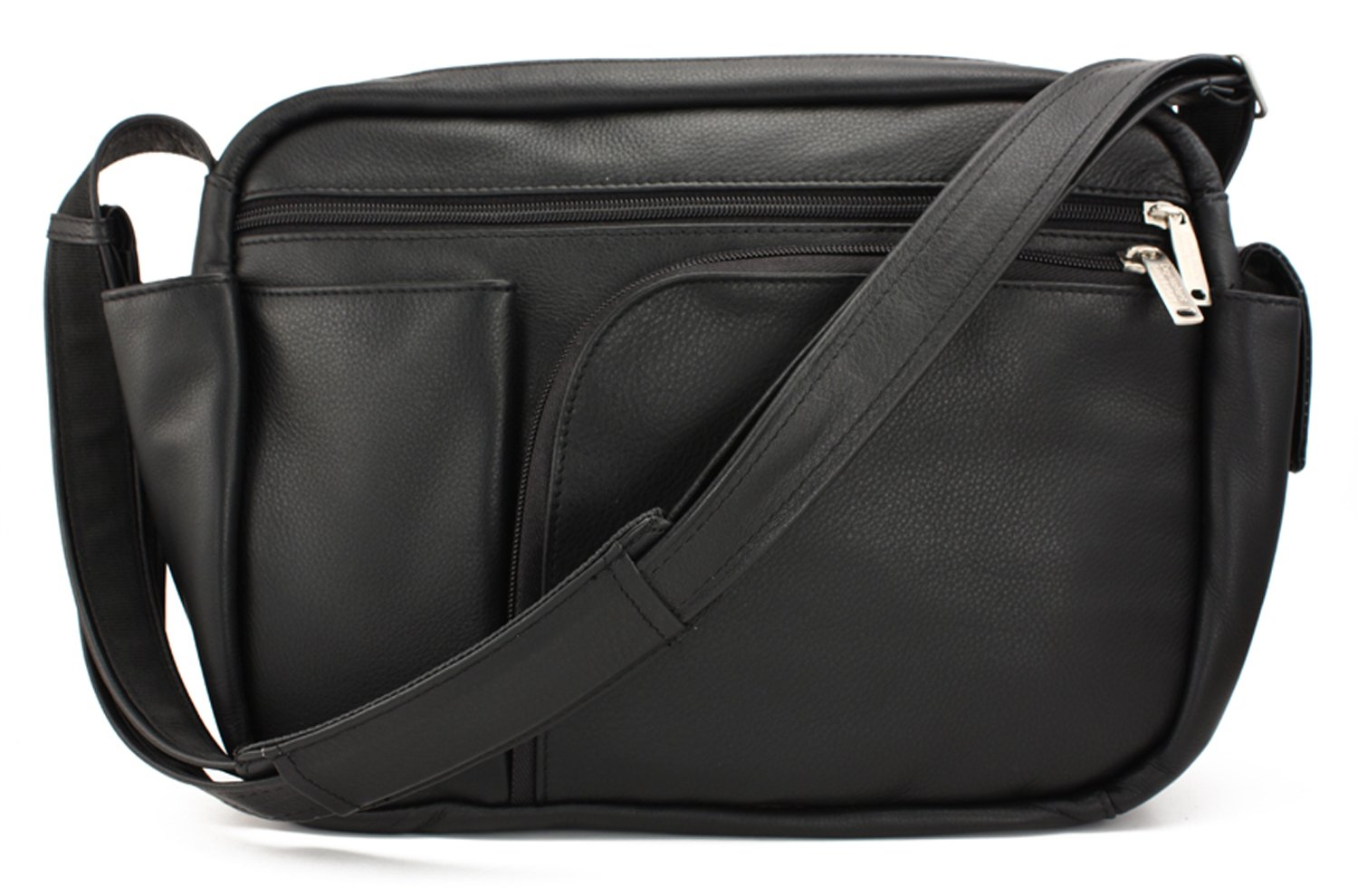 BeSafeBags by DayMakers 10 Pocket with Organizer, Large Anti-Theft Travel Security Handbag, Black Leather