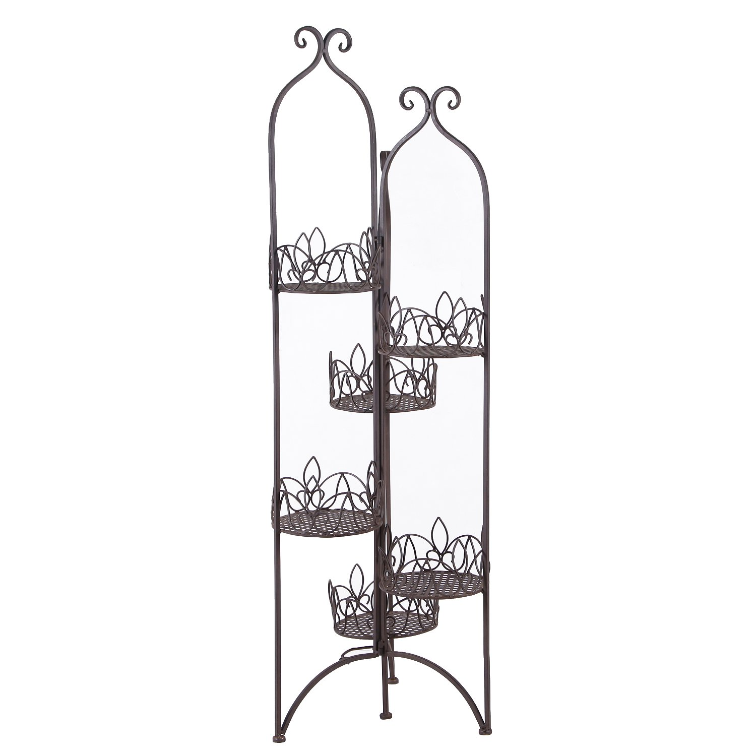 Homebeez 6-Tiered Scroll Classic Plant Stand Decorative Metal Garden Patio Flower Pot Rack Display Shelf Holds 6-Flower Pot with Modern Design (6 tired)