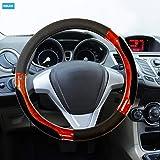 NIKAVI Luxury Microfiber Leather Auto Car Steering Wheel Cover Universal 15 inch (BLACK)