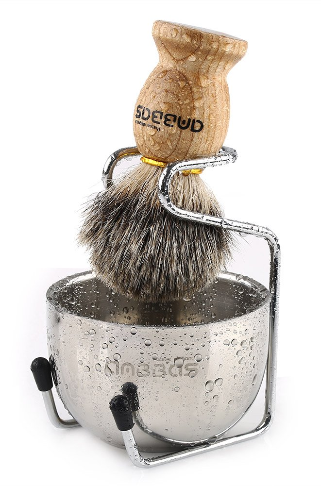 Shaving Set, 3in1 Pure Badger Hair Shaving Brush Natural Solid Wood Handle and Stainless Steel Shaving Stand with Shaving Bowl Dia 3.2'' for Men Wet Shaving by Anbbas