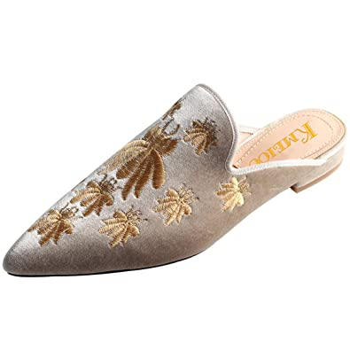 ed64266c52e Kmeioo Loafers for Women, Womens Embroidery Mule Shoes Velvet Backless Slip  On Loafers Pointed Toe Flat Mule Slides