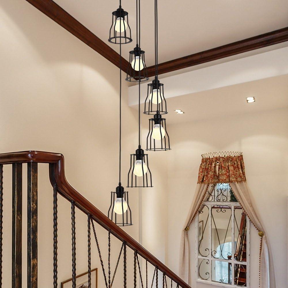 6 lumières rétro chandelier LED E27, 30 * 150CM, lampe industrielle de lumière pendante d'escalier noir, lustre en spirale d'escalier de plancher de bâtiment de duplex pour le salon