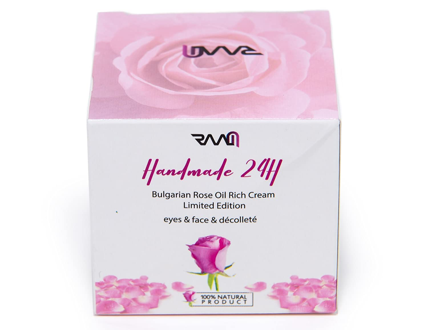 RAAM Handmade 24H Bulgarian Rose Oil Rich Eyes, Neck and decolletage Cream Limited Edition - Lab Tested and Certified 100% Natural Product (50 ml)