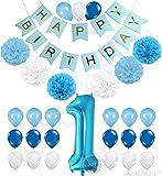 1st Birthday Boy Decorations Kit - Beautiful Boy Colors for Little Man First Birthday Decorations - Number One Balloon - Blue Happy Birthday Banner - Blue, Light Blue and White Pink Pom Poms Balloons