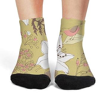 Womens Athletic Crew Socks vintage wild lily flowers Moisture Wicking Casual Socks
