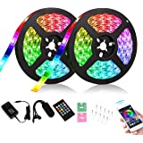 ESO 65.6 ft 20 M Bluetooth Dream Color 5050 SMD RGB LED Flexible Strip Light Black PCB Board Color Changing Decoration…