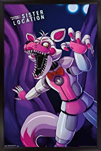 """Trends International Five Nights at Freddy's: Sister Location - Funtime Foxy Wall Poster, 22.375"""" x 34"""", Black Framed Version"""