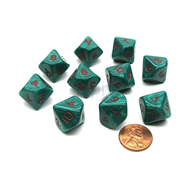 Chessex Dice Ankh Green/Red Pearlized d10 10-Die Set: Toys & Games