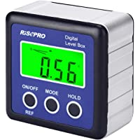 RISEPRO Digital Level Box Angle Gauge Protractor Inclinometer Bevel Box with Magnet Base LCD Backlight, Calculating for…