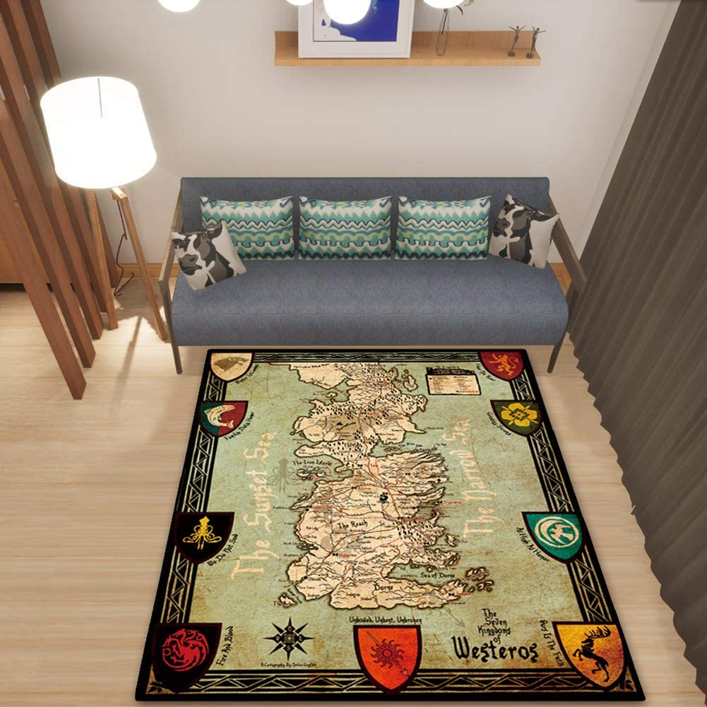 Modern Simple Fashion Style Area Rugs Game of Thrones Carpet Floor Mat Living Room Home Decor Floor Carpet for Boys Girls Kids College Dorm,Map,80x160cm/32x63in