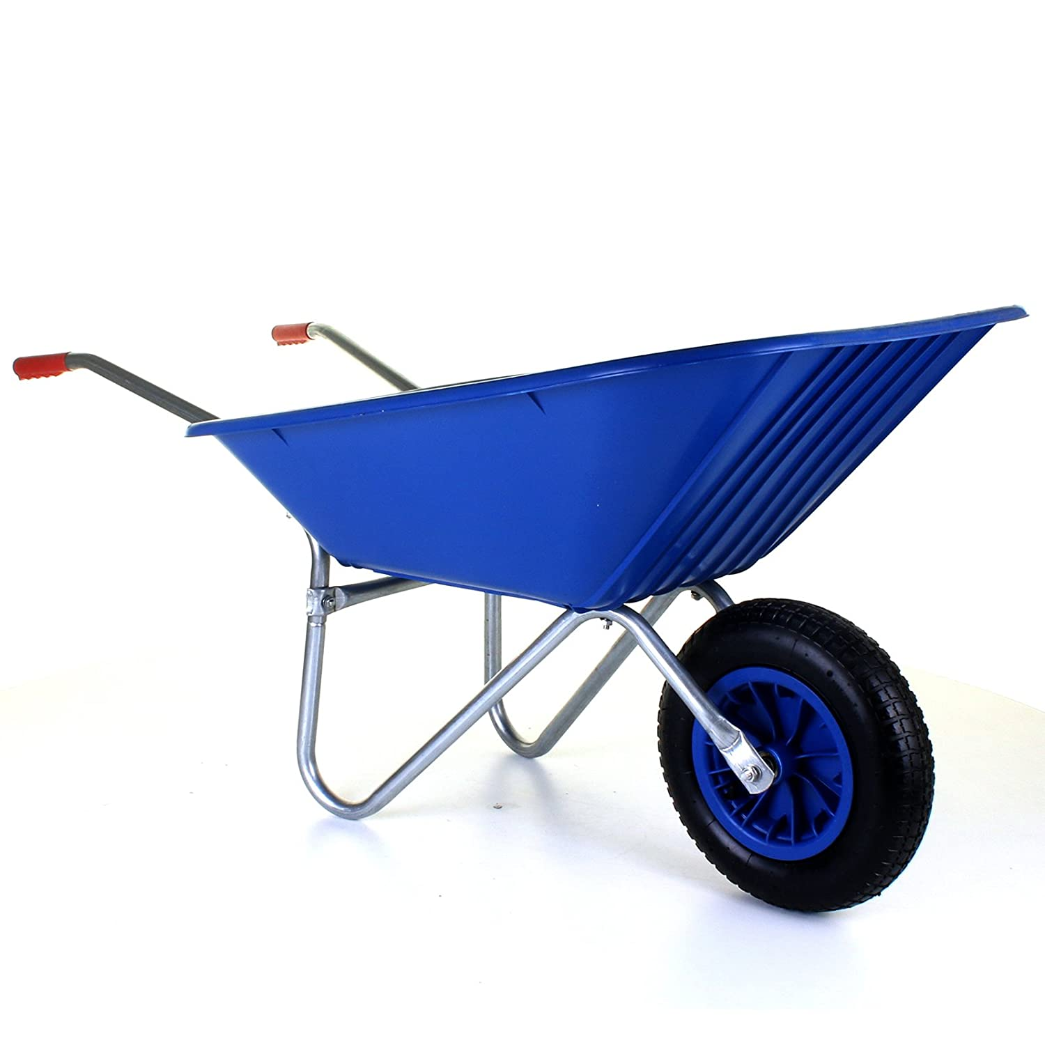 Marko Tools 85L Plastic Wheelbarrow Heavy Duty Outdoor Garden Equestrian Black Blue Green (Blue)