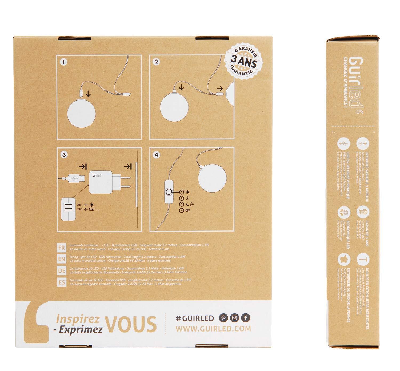 caoba Guirnalda de bolas de algod/ón LED USB 24 boules Cargador doble USB 2 A incluido 3 intensidades