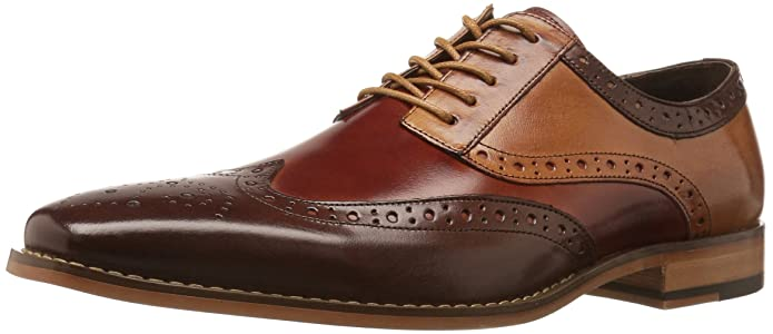 STACY ADAMS Men's Tinsley Wingtip Oxford, Brown, Cognac, Tan