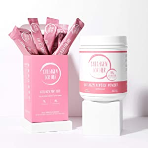 The Essentials Bundle by Collagen For Her: Unflavored Collagen Peptide Powder & Travel Stick Packets - Grass Fed, Pasture Raised, Hydrolyzed Collagen Protein Supplement for Wome