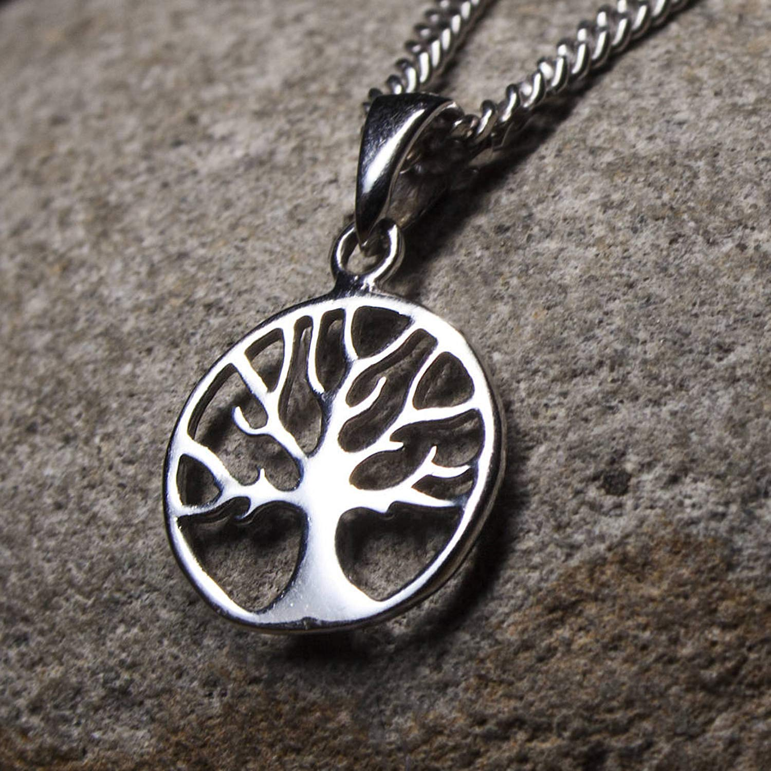 Yggdrasil Sterling Silver Viking Celtic Family Tree of Life Choker Necklace Norse Jewelry for Women