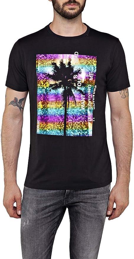 Black Replay Multicolour Logo Men/'s T-Shirt