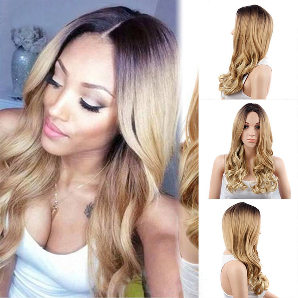 Amazon.com: RJ Hair Glueless Ombre Lace Front Wig Natural Wave Honey Blonde Dark Roots Ombre Synthetic Wavy Hair Front Lace Wigs Hotsale (22inch): Beauty