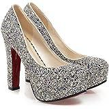 Sfnld Women's Elegant Sequined Round Toe Platform High Chunky Heel Slip On Wedding Pumps Shoes
