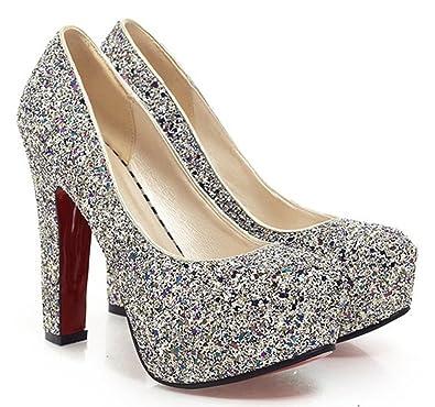 Chunky Heel Wedding Shoes | Amazon Com Sfnld Women S Elegant Sequined Round Toe Platform High