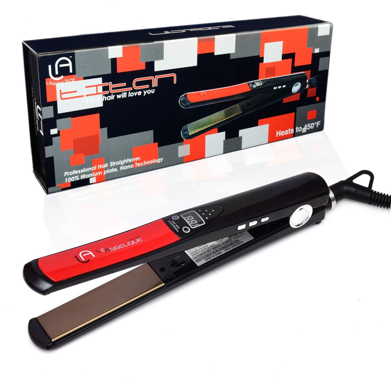 Le Angelique Titan Titanium Nano 450F Flat Iron Hair Straightener Styler Dual Voltage 110v-240v