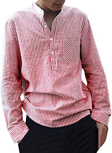 Camisa a Rayas para Hombre - Moda Manga Larga Cuello Mao Regular Fit Shirt Hombres Básica Casual Blusa con Botón Camisas Tops Tallas Grandes: Amazon.es: Ropa y accesorios