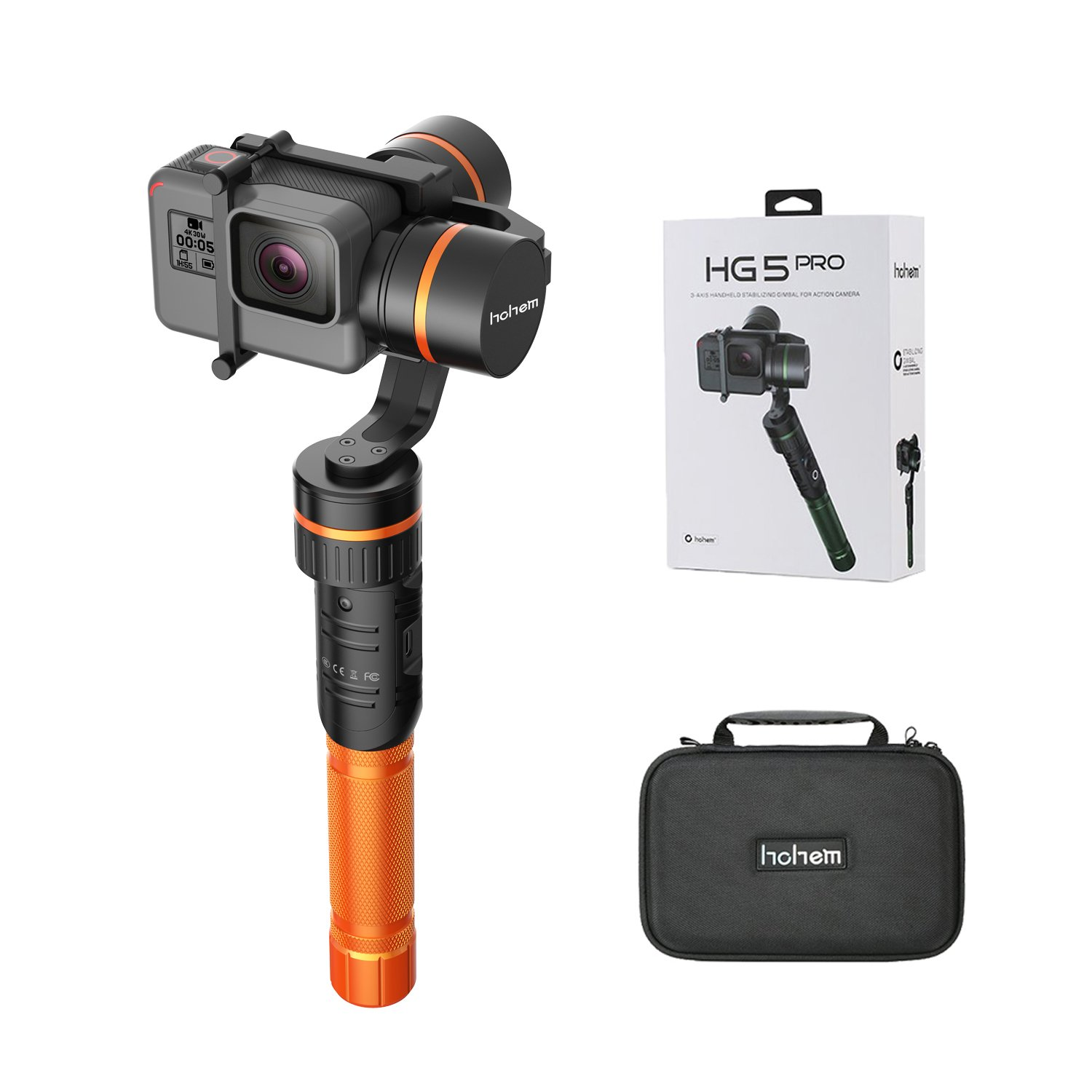 HOHEM HG5 3-Axis Handheld Aluminum Gimbal Stabilizer Support APP Wireless Remote Control for GoPro Hero5 Hero4 Xiaomi Yi 4K and Other Action Cameras with Similar Dimensions (Orange) by HOHEM