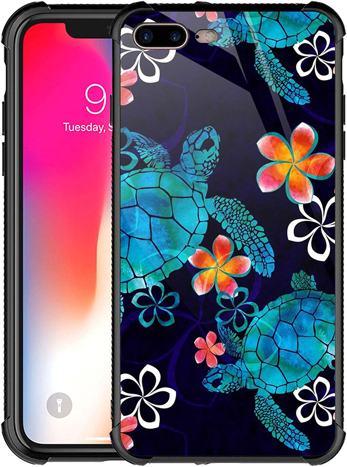 iPhone 8 Plus Case,Turtle and Flowers iPhone 7 Plus Cases for Girls Boys,Customesize Pattern Design Shockproof Anti-Scratch Hard PC Back Case for Apple iPhone 7/8 Plus