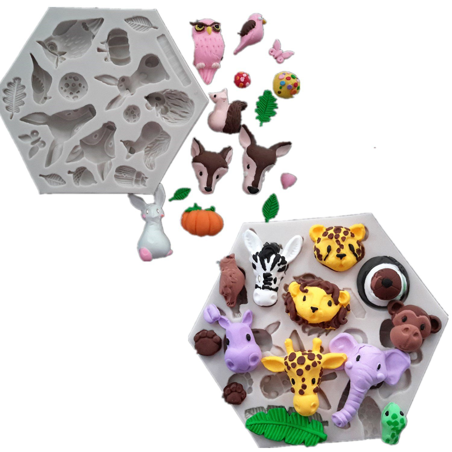Efivs Arts Set of 2 Nauture Forest Animals Lion Leopard Giraffe Hedgehog Squirrel Zebra Elephant Fondant Silicone Molds Candycraft Cake Making Mold Chocolate Candy Baking Tools by Efivs Arts