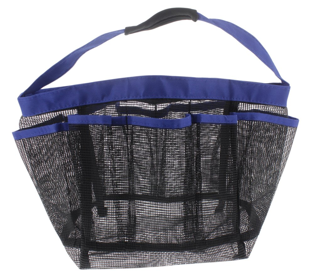 7 Pocket Mesh Shower Caddy Nylon Bag Travel Hanging Toiletry Bag ...