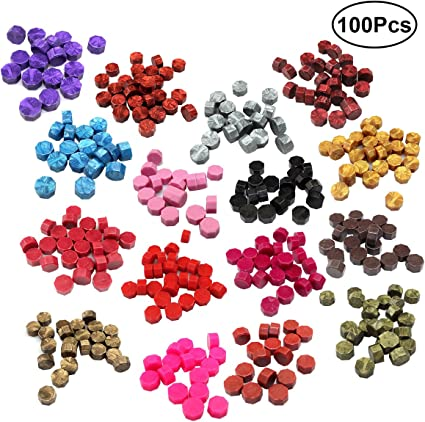 100pcs Colorful Octagon Seal Sealing Wax Beads for Wedding Invitation Stamp