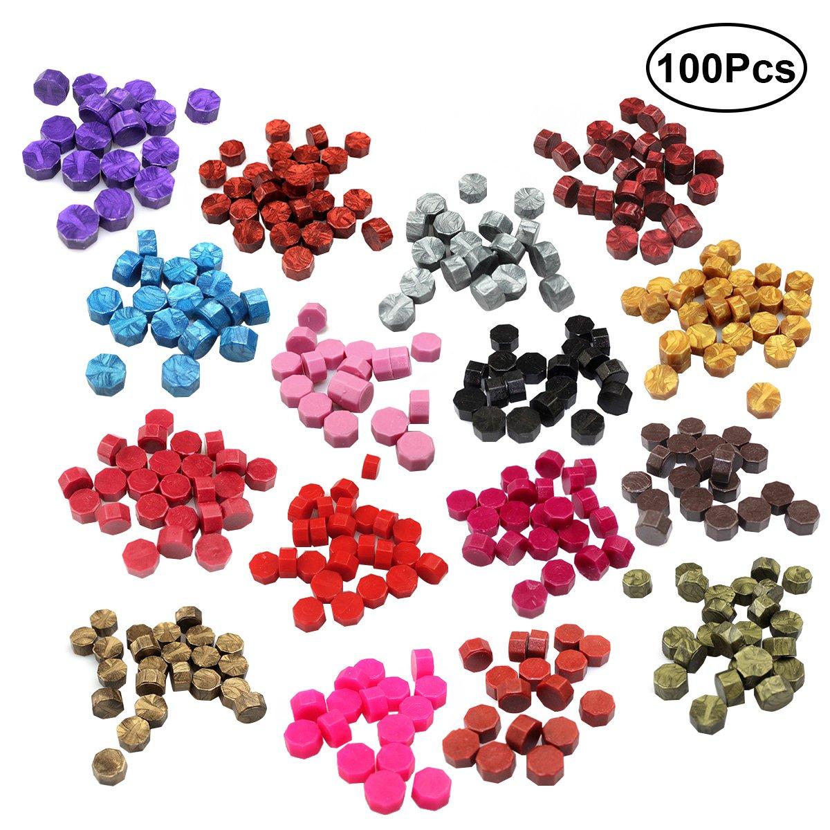 rosenice octogonal de 100piezas de colorido perlas de lacre sello romántico eléctrica para sello de cera Kit (varios colores)