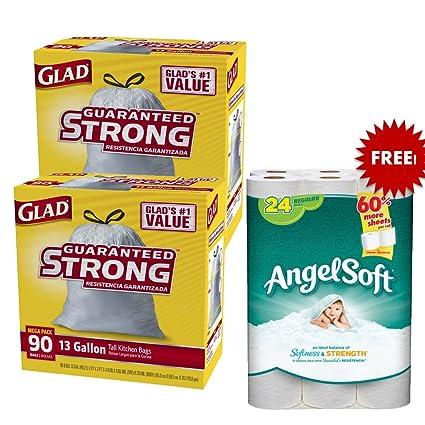 amazon com glad tall kitchen drawstring trash bags 13 gallon 90 rh amazon com