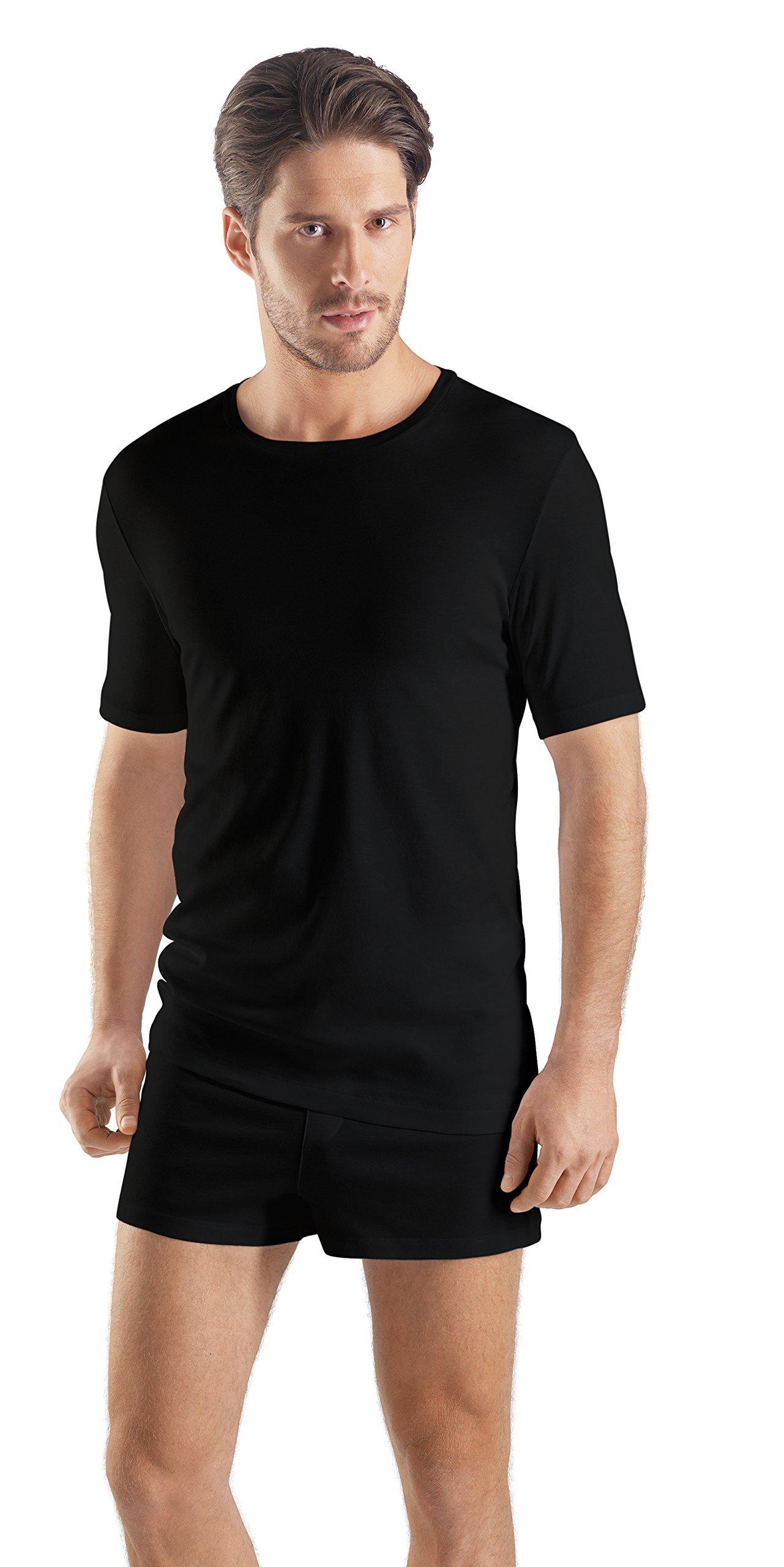 Hanro Men's Sea Island Cotton Short Sleeve Crew Neck 73174, Black, Large