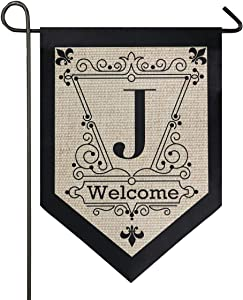 Oarencol Vintage Monogram Letter J Welcome Fleur De Lis Flower Garden Flag Double Sided Home Yard Decor Banner Outdoor 12.5 x 18 Inch