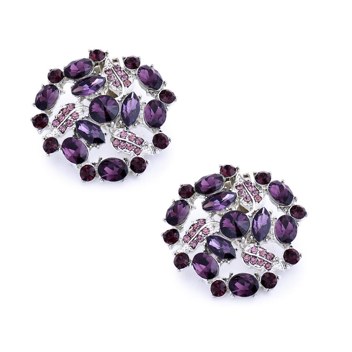 ElegantPark AM Women Rhinestones Decoration Wedding Party Shoe Clips 2 Pcs Purple