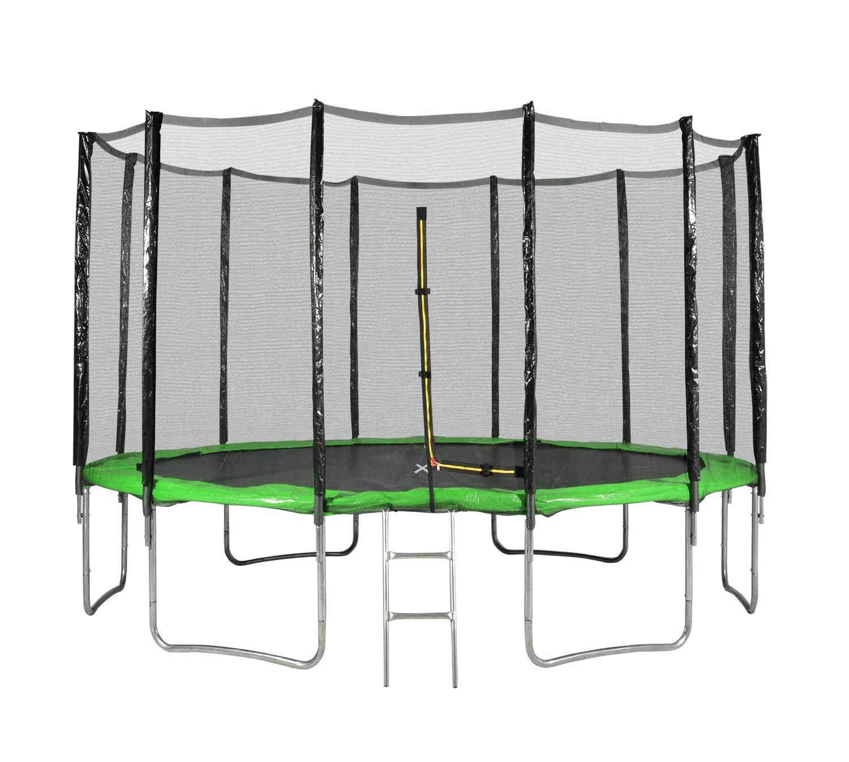Outsidefun Gartentrampolin TUV mit Außennetz, Durchmesser 14 Ft / 427 cm – 12 Stangen – Farbe wählbar