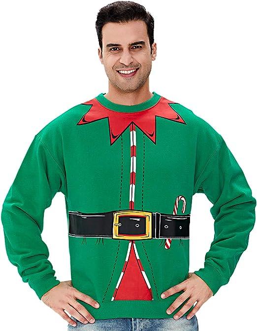 NUOVA Per Adulti Unisex Costume Da Babbo Natale Elfo Tuta Novità Natale Costume S-XL