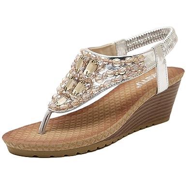 18cb9cbf2a39 Minetom Femme Sandales Rhinestone Tongs Compensées Fille Chaussures de  plage d'été Tongs Argent EU