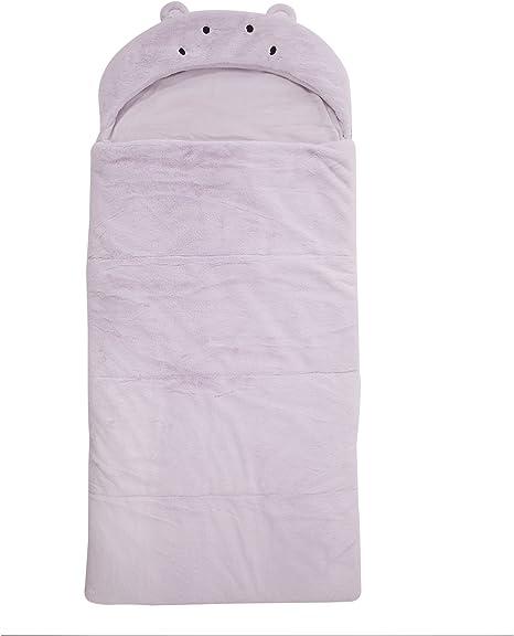 Best Home Fashion Closeout Plush Faux Fur Hooded Hippo Animal Sleeping Bag 1 Sleeping Bag Lavender 27 W x 59 L -