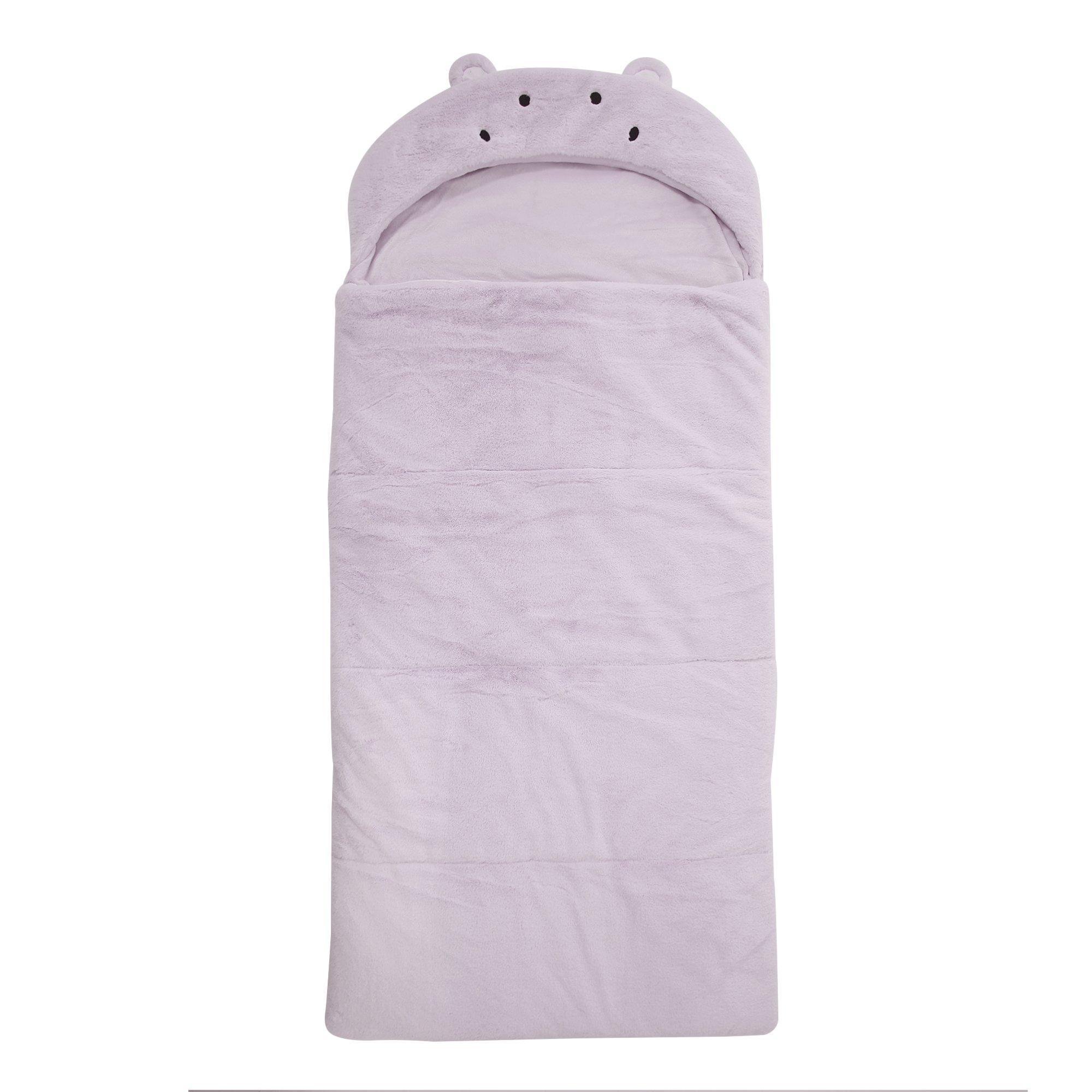 Best Home Fashion Plush Faux Fur Hooded Hippo Animal Sleeping Bag - Lavender - 27'' W x 59'' L - (1 Sleeping Bag)