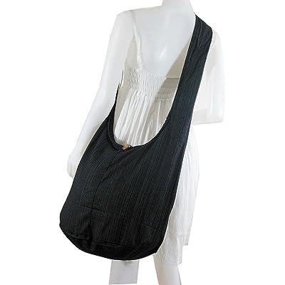 Black : Thai Hippie BAG Hobo Shoulder BAG Sling Cross Body Cotton Zip Simple