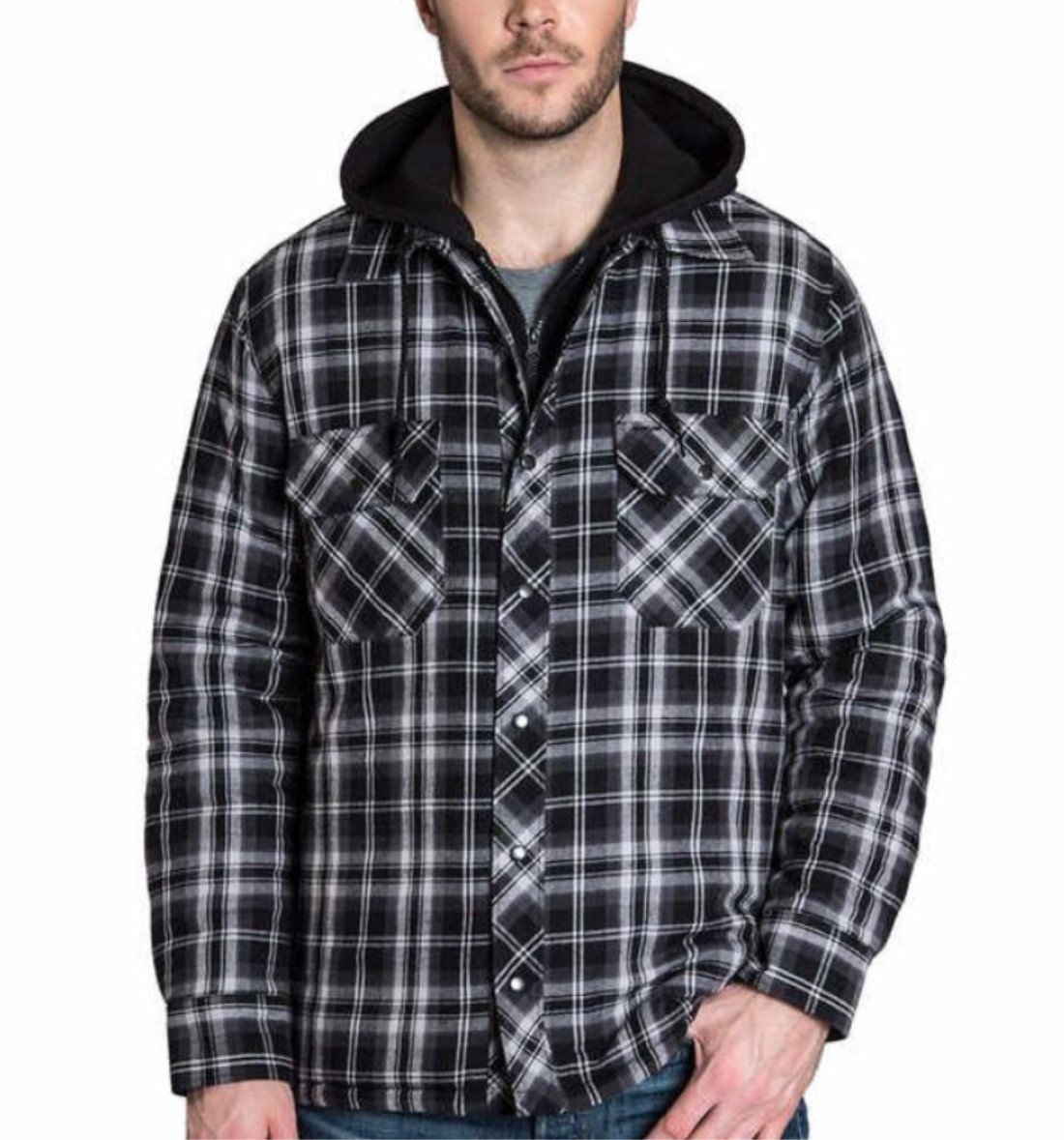 BC Clothing Men's Plaid Hooded Shirt Jacket with Quilted Lining
