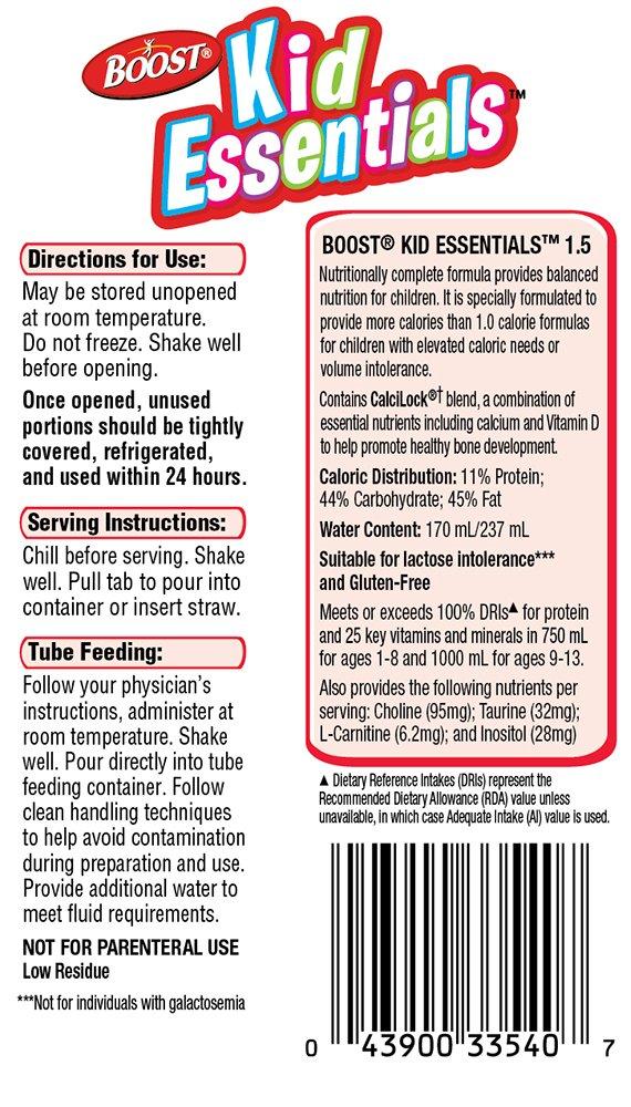 Boost Kid Essentials 1.5 Nutritionally Complete Drink, Very Vanilla, 8 fl oz Box, 27 Pack by Boost Kids Essentials