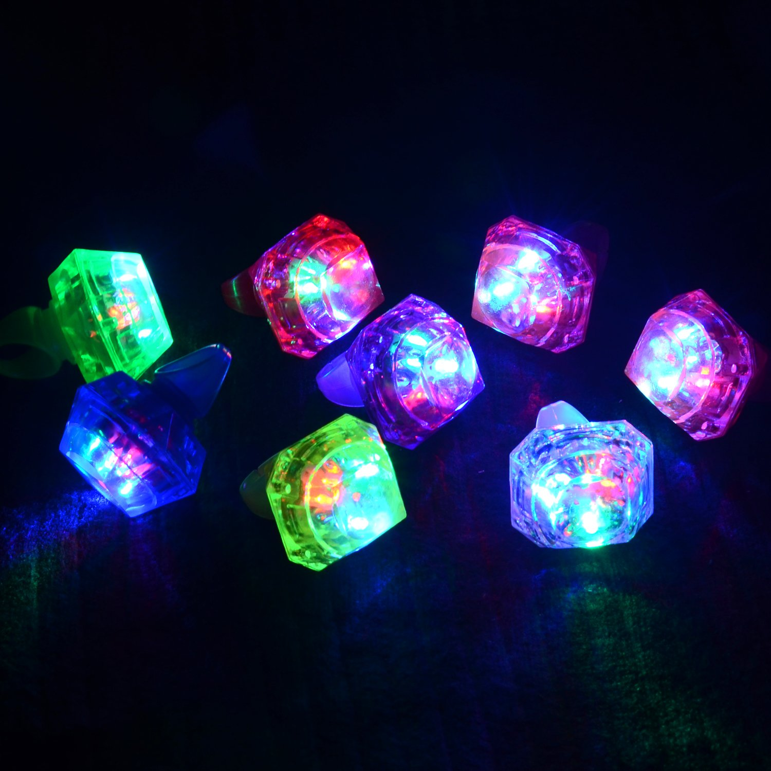 LED Rings with 7 Colors 24 Pack Light up Kids Finger Toys Flashing Bumpy Jelly Big Ring for Glow Party Favors Supplies