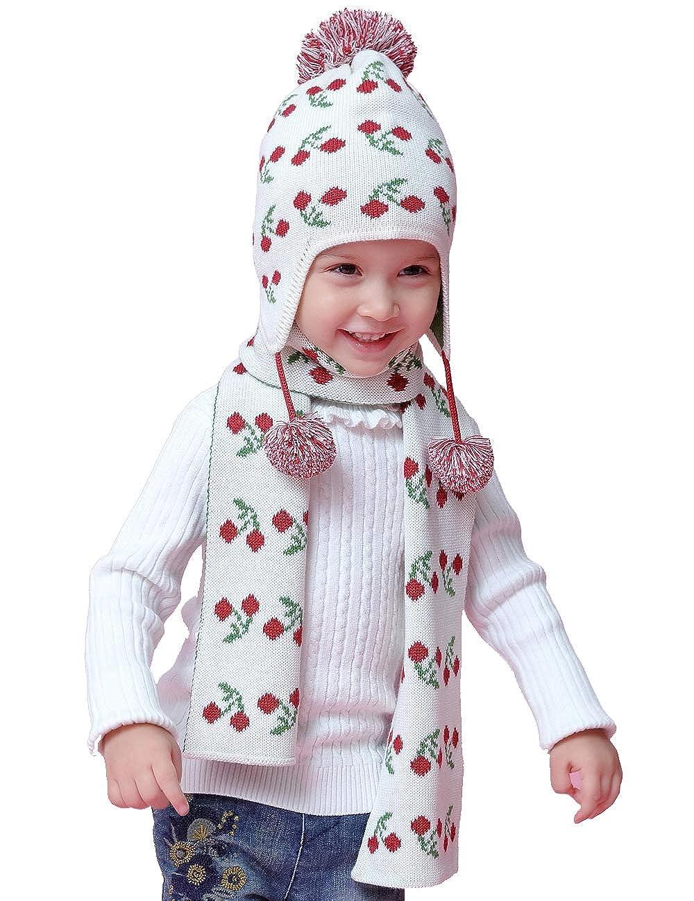 Echinodon Mütze Set Baby Kinder Mädchen / 2tlg Strickmütze + Schal Kindermütze Pudelmütze Herbst Winter Wintermützen