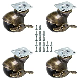 AAGUT 2 Inch Ball Casters with Brake Heavy Duty Vintage 360 Degree Swivel Plate Caster Replacement for Furniture Cabinets, Table Legs Set of 4