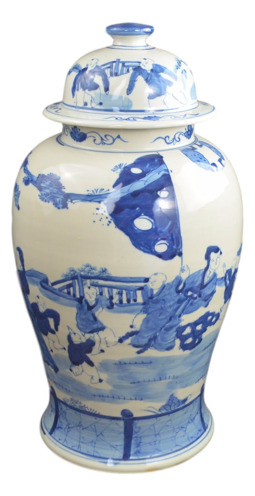 19'' Antique Finish Blue and White Porcelain Children Play Temple Ceramic Jar Vase, China Ming Style, Jingdezhen (L2)