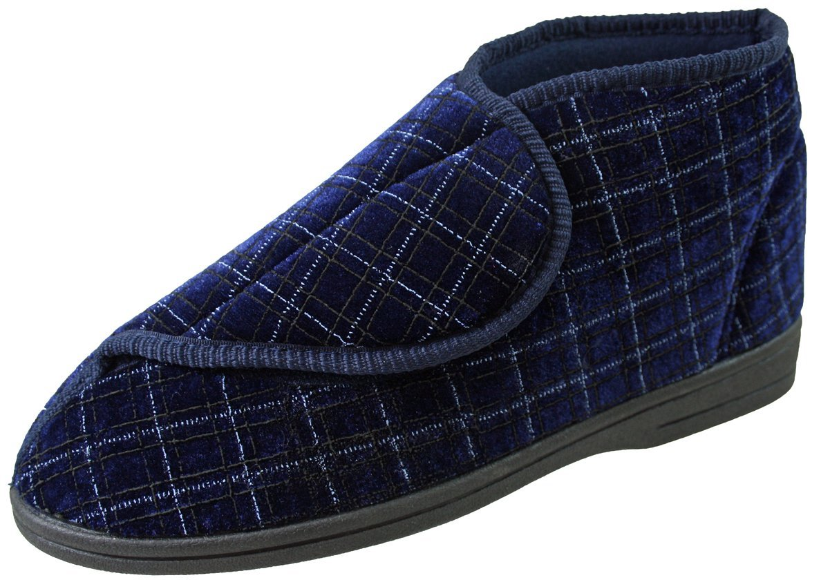 MENS DIABETIC ORTHOPEDIC MACHINE WASHABLE EASY CLOSE SLIPPERS NAVY SZ UK 6-12