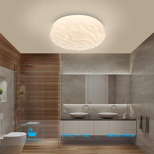 Plafonnier Led Salle De Bain Cuisine Chambre Lampe Plafond Led Salon Salle A Manger Balcon Couloir Ronde Moderne Plafonniers Impermeable Blanc Naturel