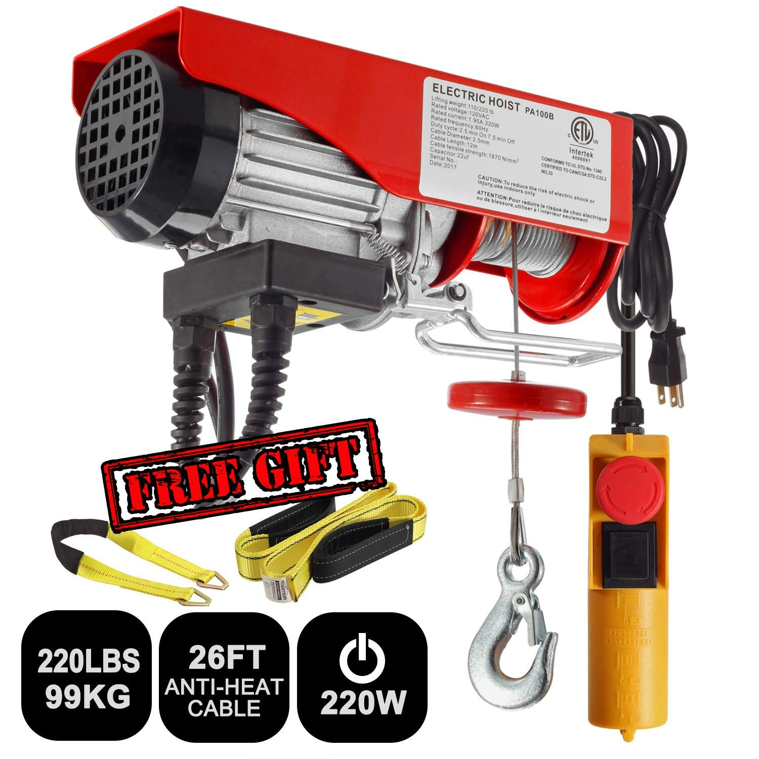 Partsam 220 lbs Lift Electric Hoist Crane Remote Control Power System, Zinc-Plated Steel Wire Overhead Crane Garage Ceiling Pulley Winch w/Premium Straps (UL/CUL Approval, w/Emergency Stop Switch) by Partsam